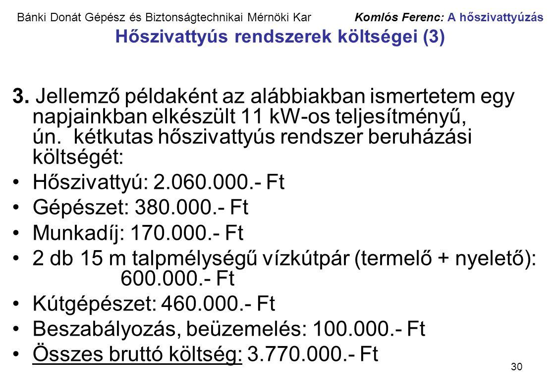 2 db 15 m talpmélységű vízkútpár (termelő + nyelető): 600.000.- Ft