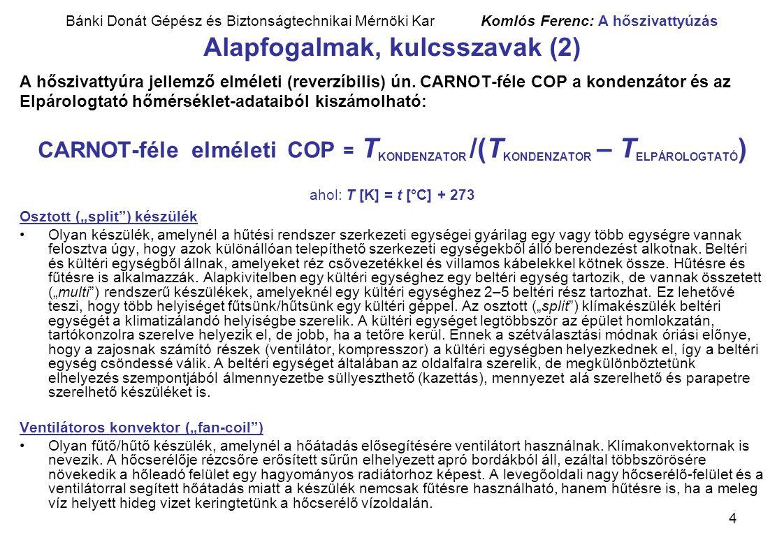 Bánki Donát Gépész és Biztonságtechnikai Mérnöki Kar Komlós Ferenc: A hőszivattyúzás Alapfogalmak, kulcsszavak (2)