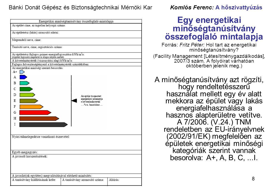 Egy energetikai minőségtanúsítvány összefoglaló mintalapja