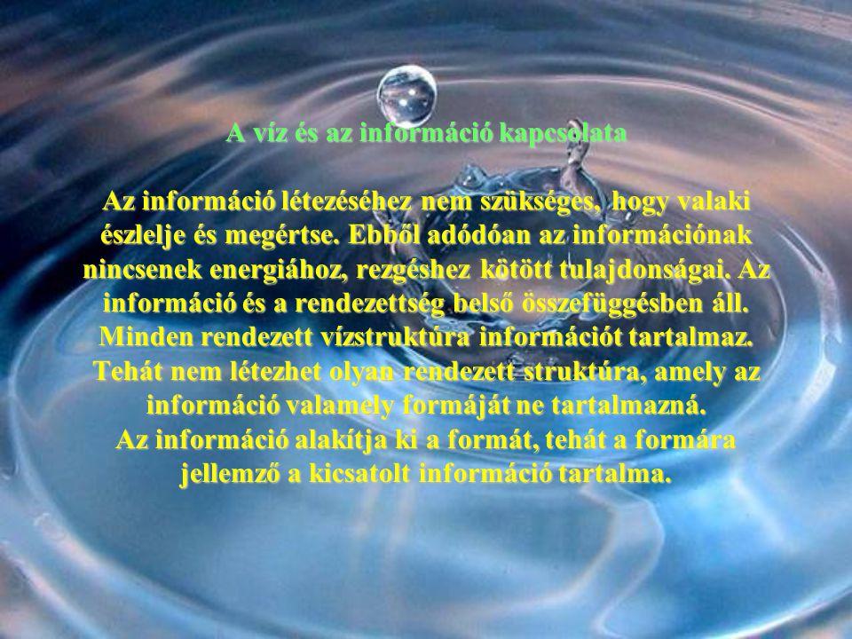A víz és az információ kapcsolata Az információ létezéséhez nem szükséges, hogy valaki észlelje és megértse.