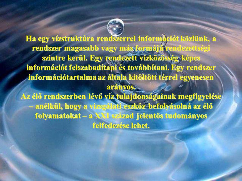 Ha egy vízstruktúra rendszerrel információt közlünk, a rendszer magasabb vagy más formájú rendezettségi szintre kerül.