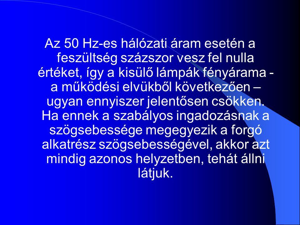 Az 50 Hz-es hálózati áram esetén a feszültség százszor vesz fel nulla értéket, így a kisülő lámpák fényárama - a működési elvükből következően – ugyan ennyiszer jelentősen csökken.