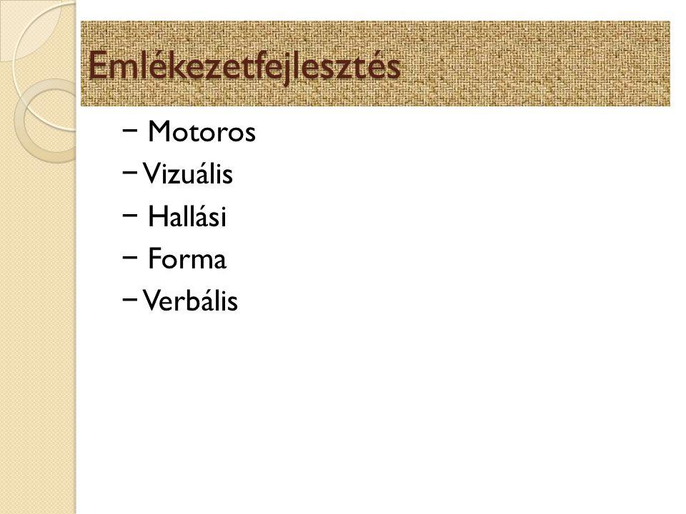 Emlékezetfejlesztés − Motoros − Vizuális − Hallási − Forma − Verbális
