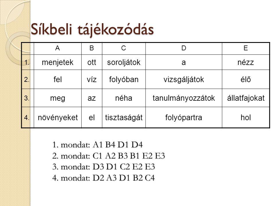 Síkbeli tájékozódás 1. mondat: A1 B4 D1 D4