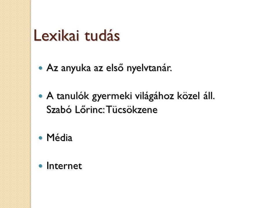 Lexikai tudás Az anyuka az első nyelvtanár.