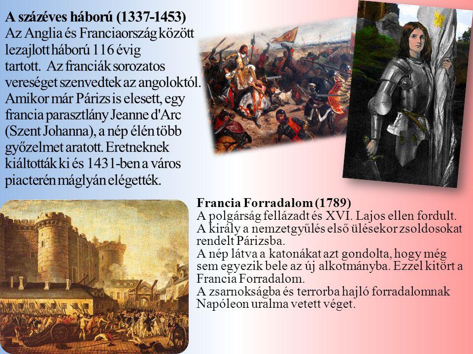 Az Anglia és Franciaország között lezajlott háború 116 évig