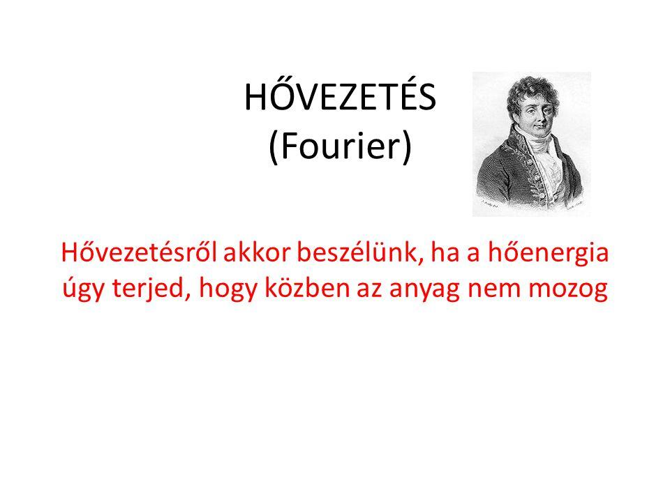 HŐVEZETÉS (Fourier) Hővezetésről akkor beszélünk, ha a hőenergia úgy terjed, hogy közben az anyag nem mozog.