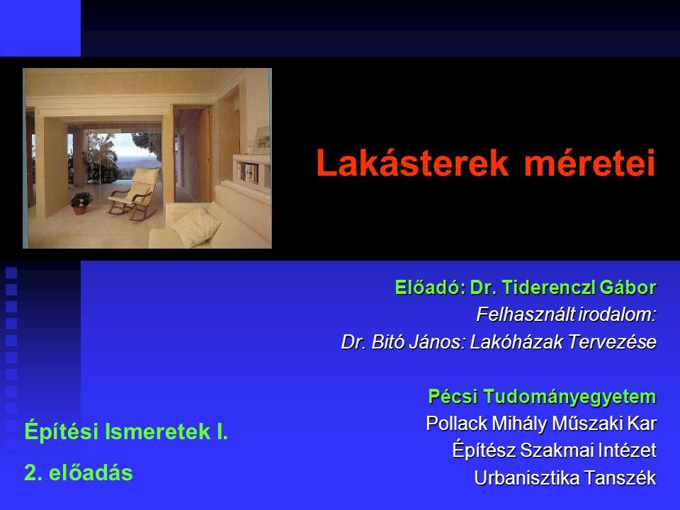Lakásterek méretei Építési Ismeretek I. 2. előadás