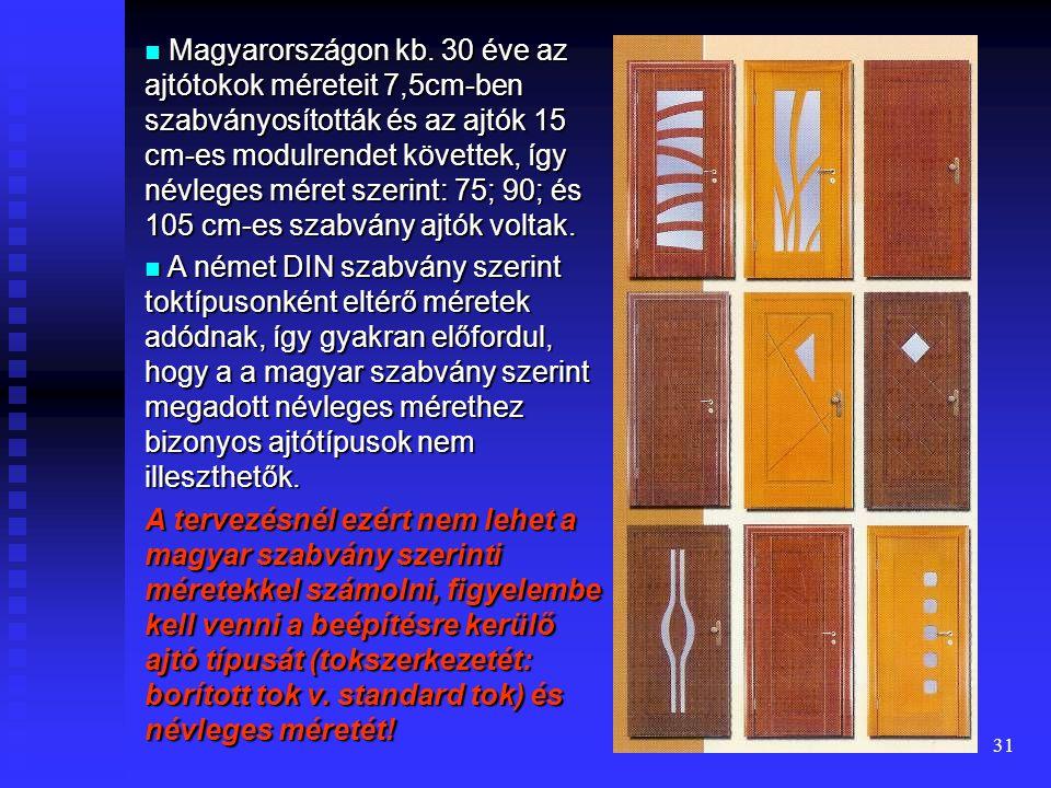 Magyarországon kb. 30 éve az ajtótokok méreteit 7,5cm-ben szabványosították és az ajtók 15 cm-es modulrendet követtek, így névleges méret szerint: 75; 90; és 105 cm-es szabvány ajtók voltak.