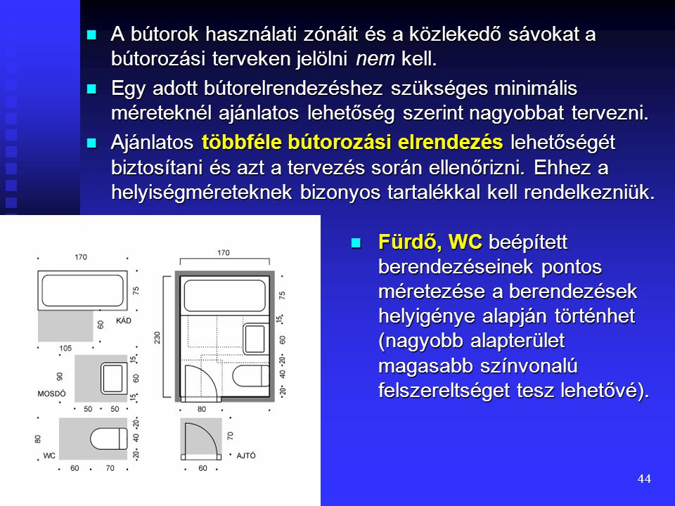 A bútorok használati zónáit és a közlekedő sávokat a bútorozási terveken jelölni nem kell.