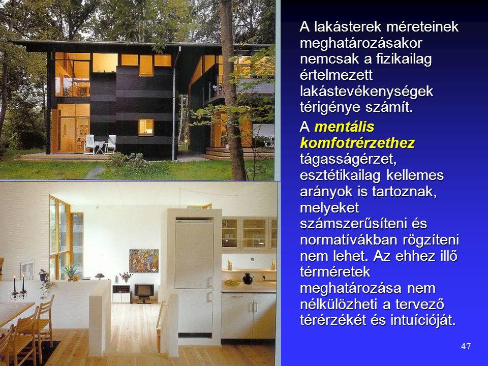 A lakásterek méreteinek meghatározásakor nemcsak a fizikailag értelmezett lakástevékenységek térigénye számít.