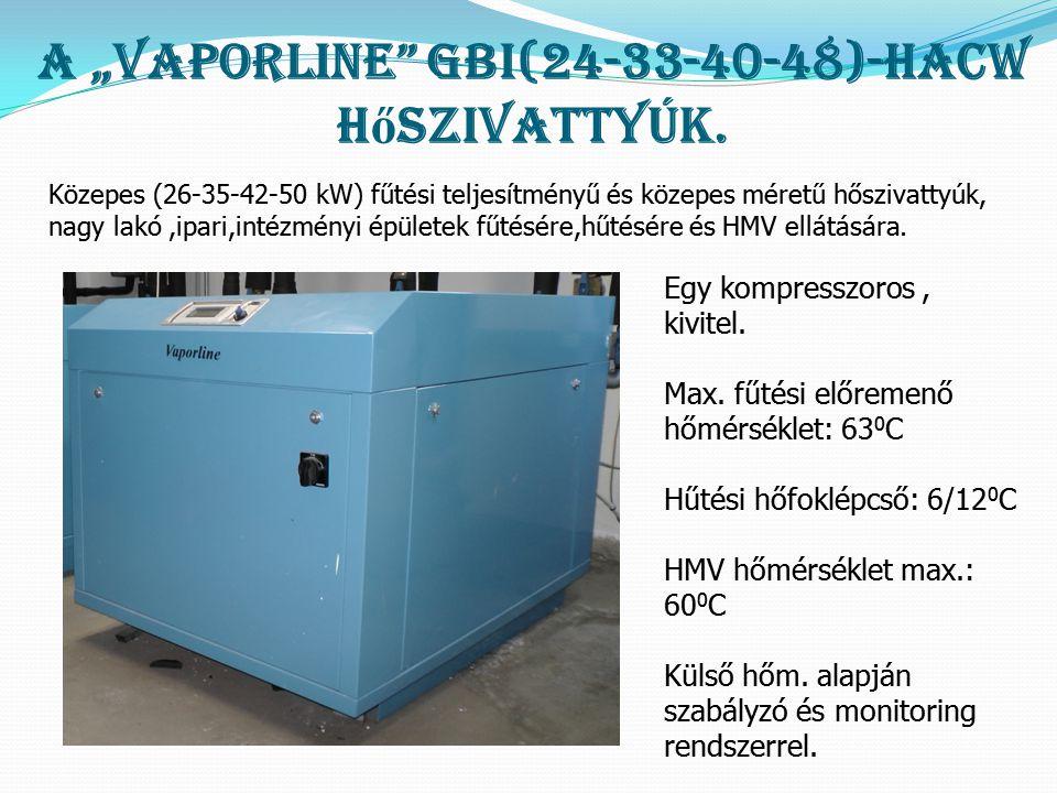 """A """"Vaporline GBI(24-33-40-48)-HACW hőszivattyúk."""
