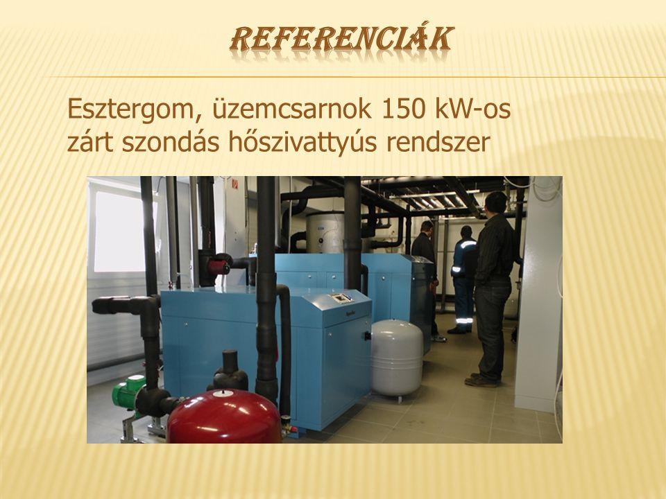 Referenciák Esztergom, üzemcsarnok 150 kW-os zárt szondás hőszivattyús rendszer
