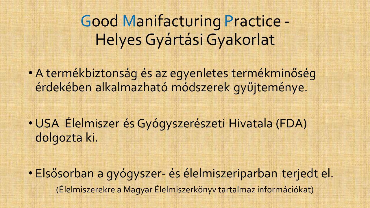 Good Manifacturing Practice - Helyes Gyártási Gyakorlat