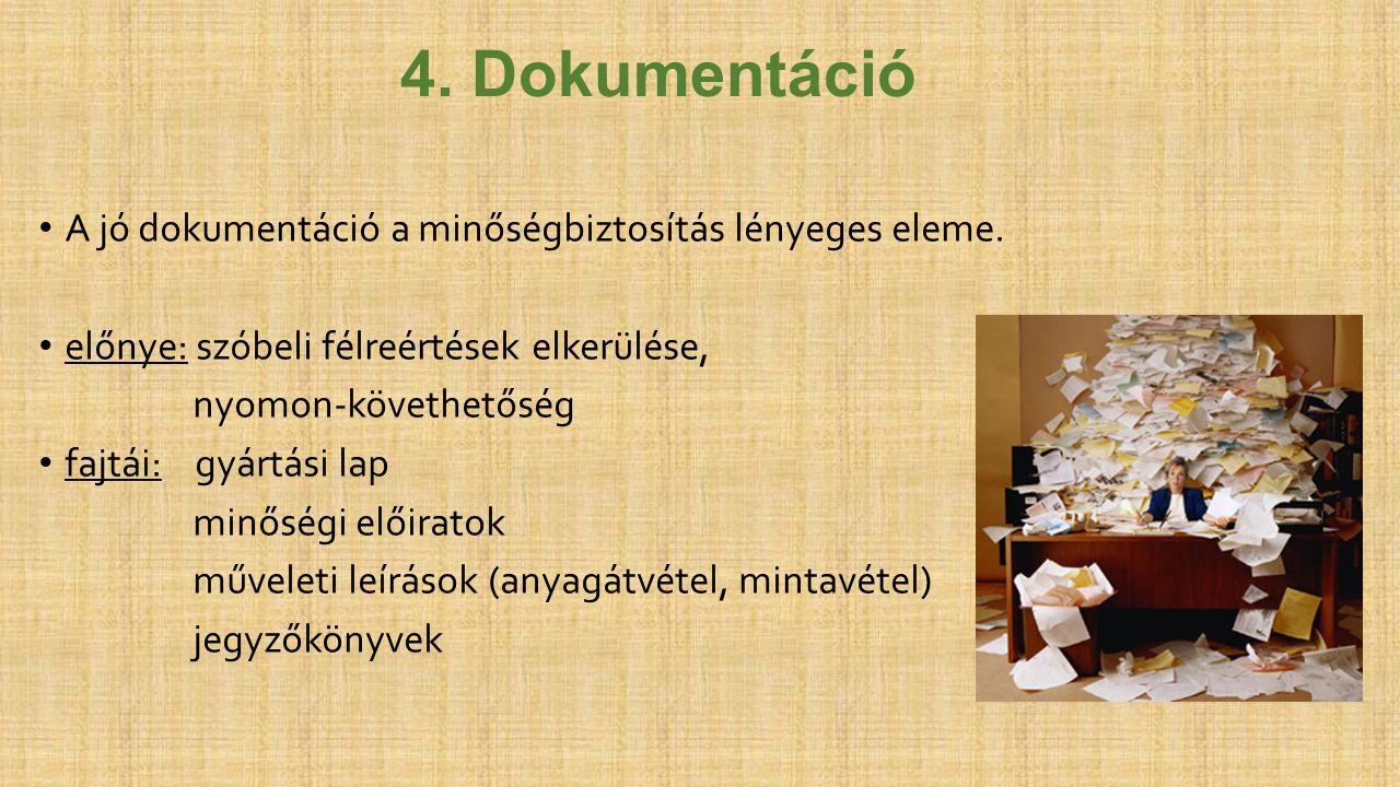 4. Dokumentáció A jó dokumentáció a minőségbiztosítás lényeges eleme.