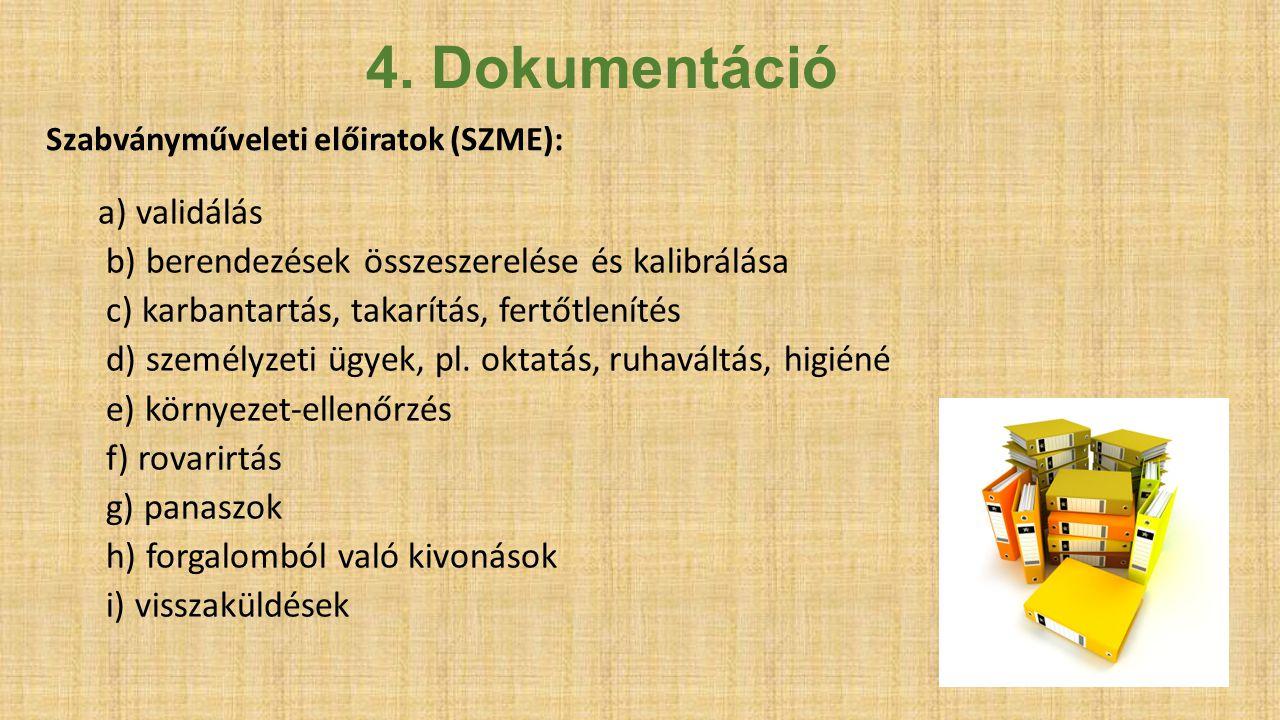 4. Dokumentáció a) validálás