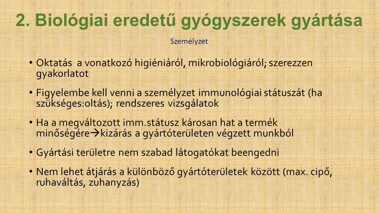 2. Biológiai eredetű gyógyszerek gyártása