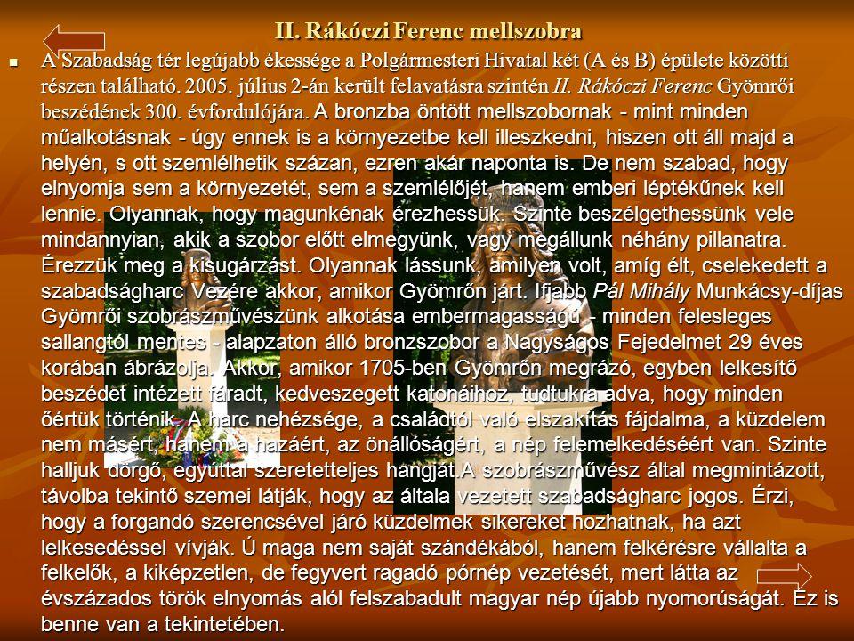 II. Rákóczi Ferenc mellszobra