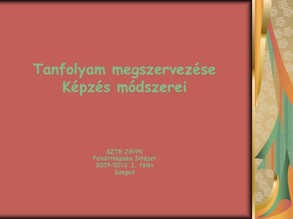 Tanfolyam megszervezése Képzés módszerei SZTE JGYPK Felnőttképzési Intézet 2009/2010.