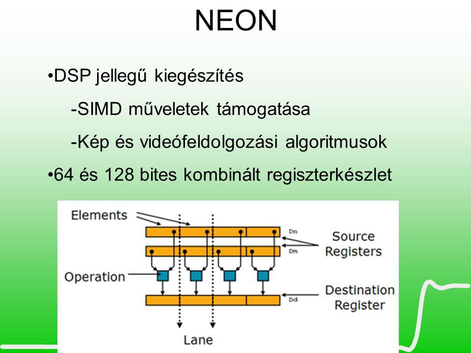 NEON DSP jellegű kiegészítés SIMD műveletek támogatása