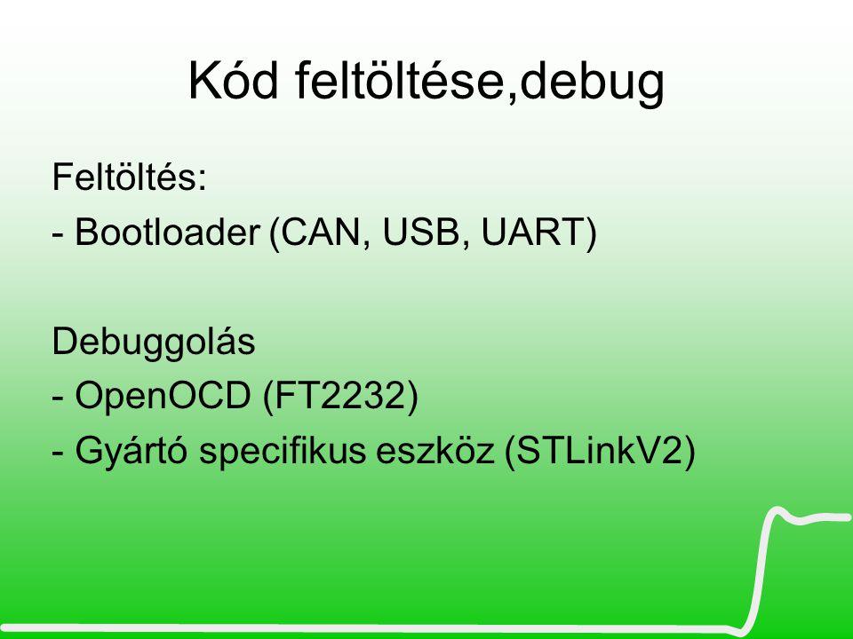 Kód feltöltése,debug Feltöltés: - Bootloader (CAN, USB, UART)