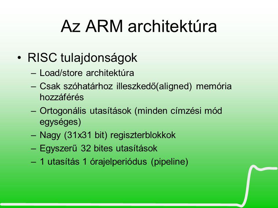 Az ARM architektúra RISC tulajdonságok Load/store architektúra