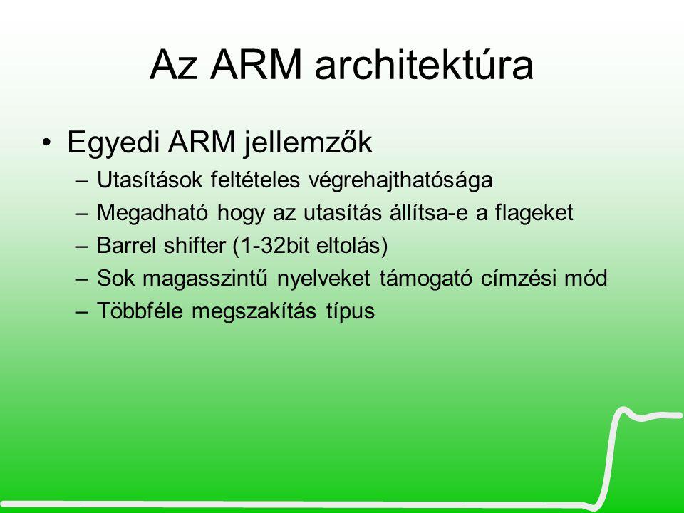 Az ARM architektúra Egyedi ARM jellemzők