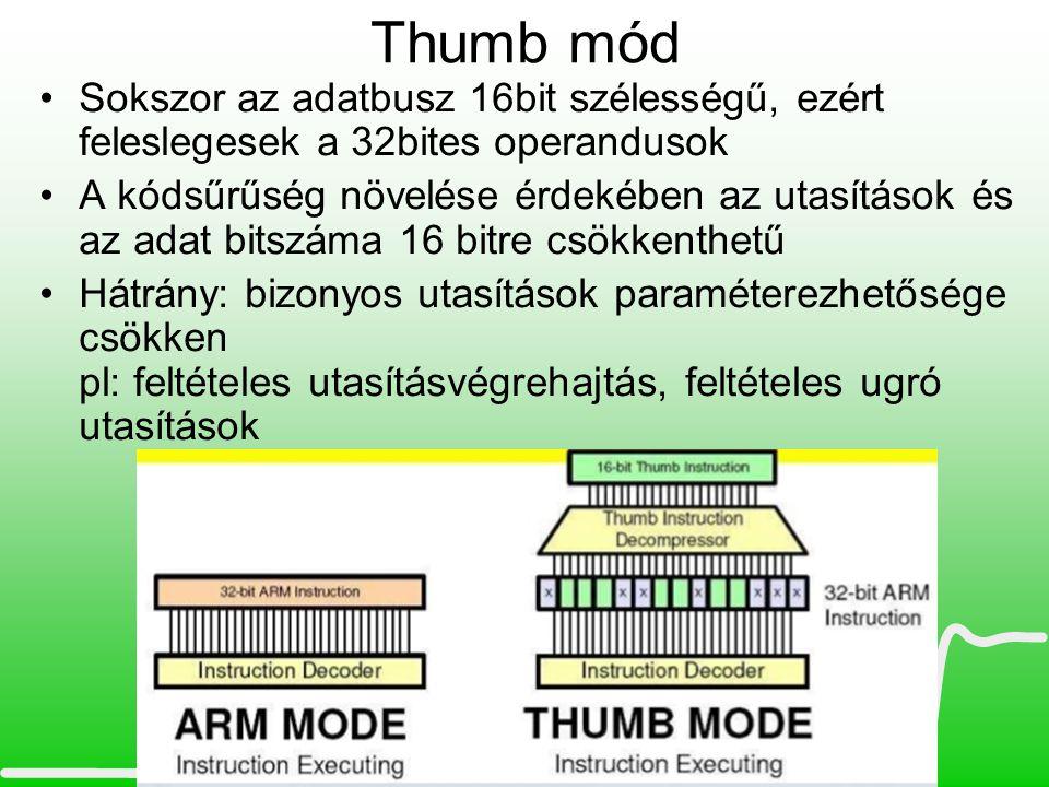 Thumb mód Sokszor az adatbusz 16bit szélességű, ezért feleslegesek a 32bites operandusok.