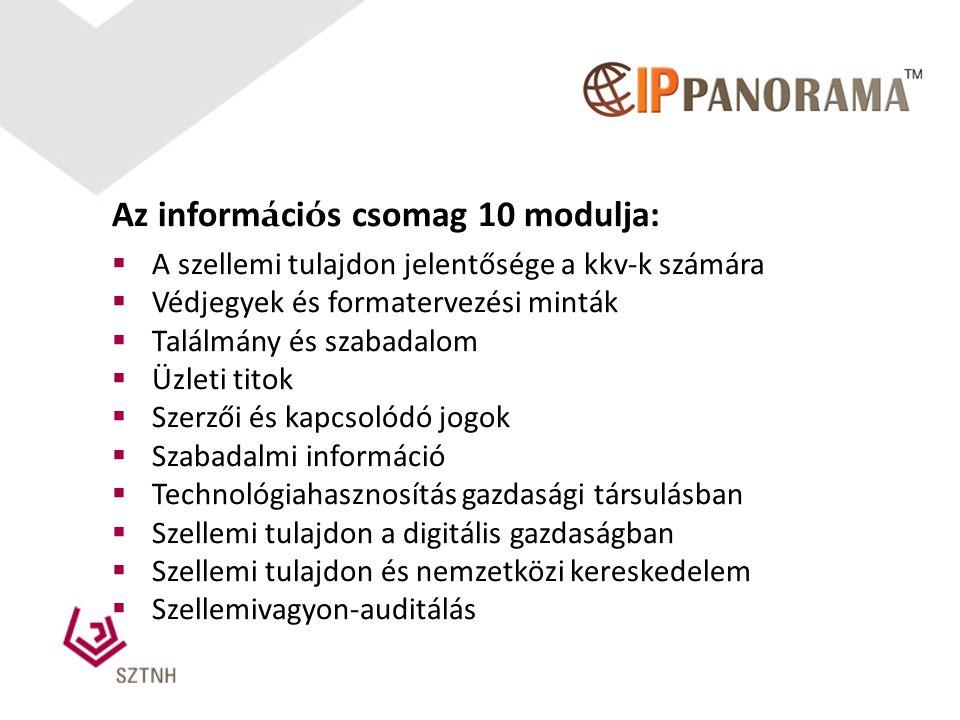 Az információs csomag 10 modulja: