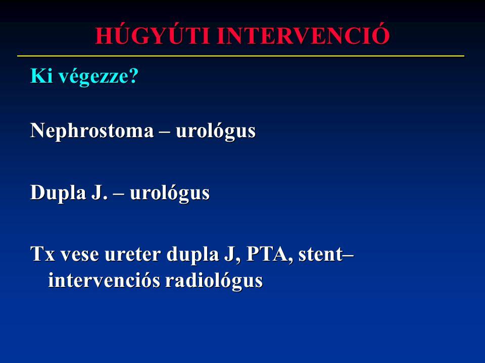 HÚGYÚTI INTERVENCIÓ Ki végezze Nephrostoma – urológus