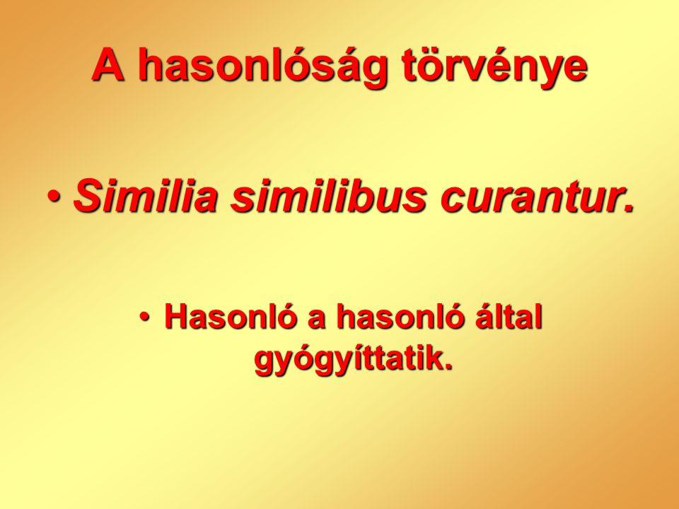 Similia similibus curantur. Hasonló a hasonló által gyógyíttatik.