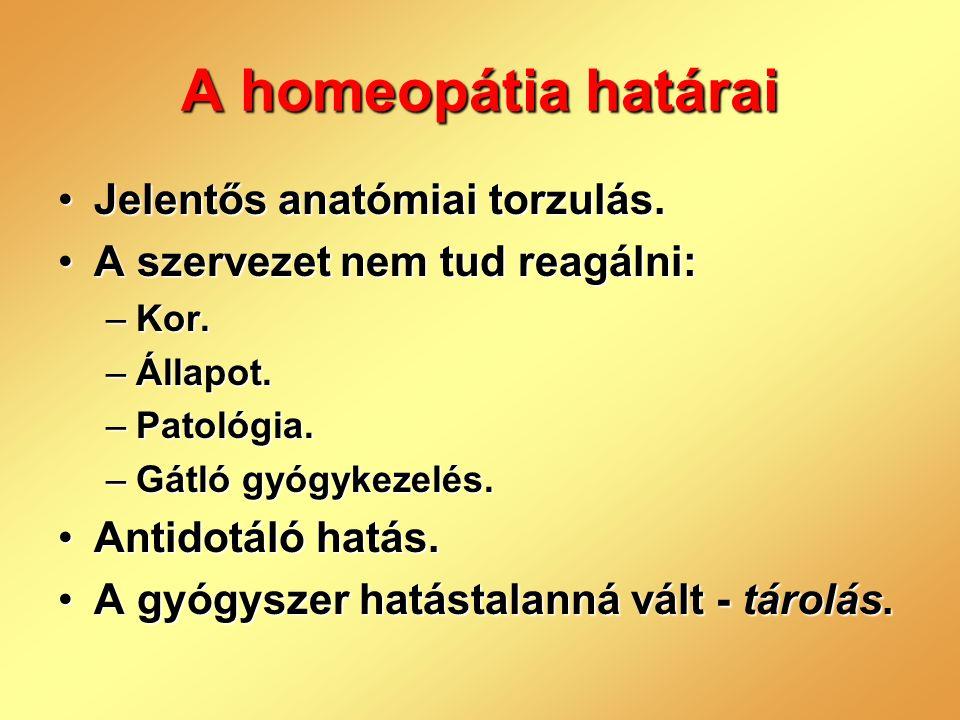 A homeopátia határai Jelentős anatómiai torzulás.