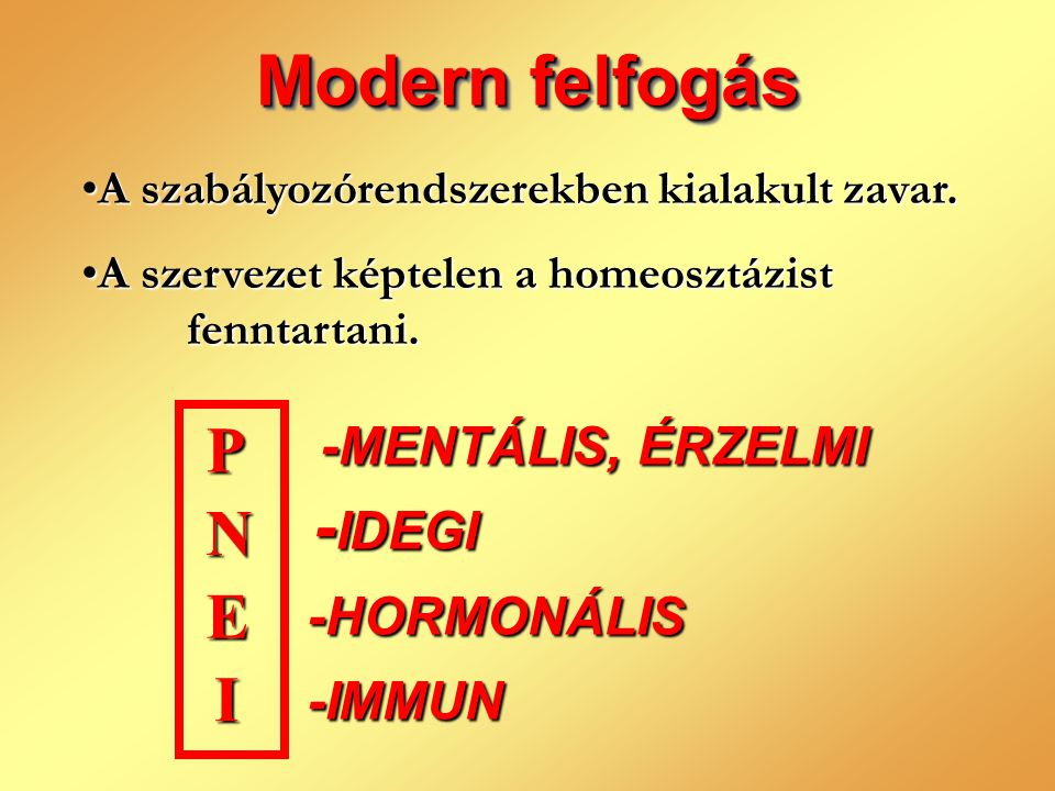 Modern felfogás P N E I -MENTÁLIS, ÉRZELMI -IDEGI -HORMONÁLIS -IMMUN