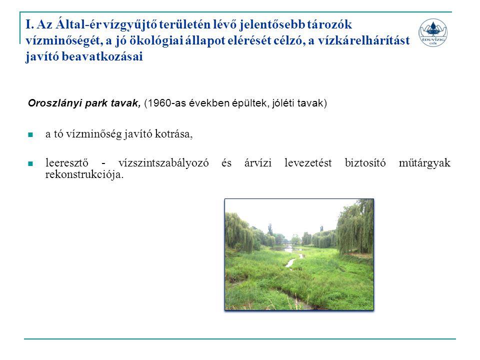 I. Az Által-ér vízgyűjtő területén lévő jelentősebb tározók vízminőségét, a jó ökológiai állapot elérését célzó, a vízkárelhárítást javító beavatkozásai