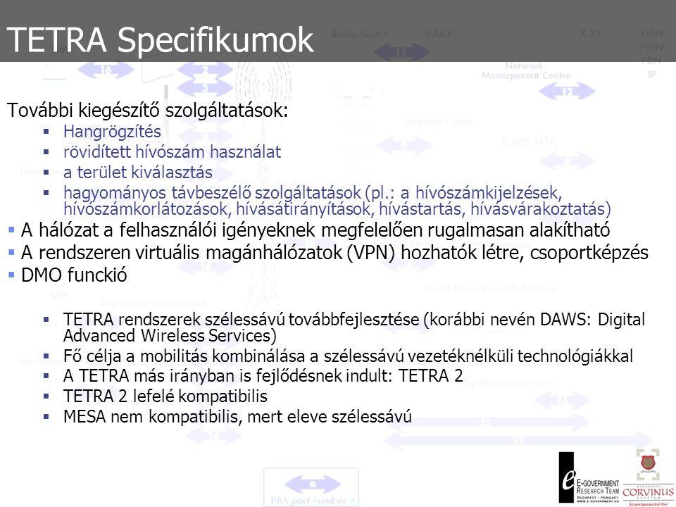 TETRA Specifikumok További kiegészítő szolgáltatások: