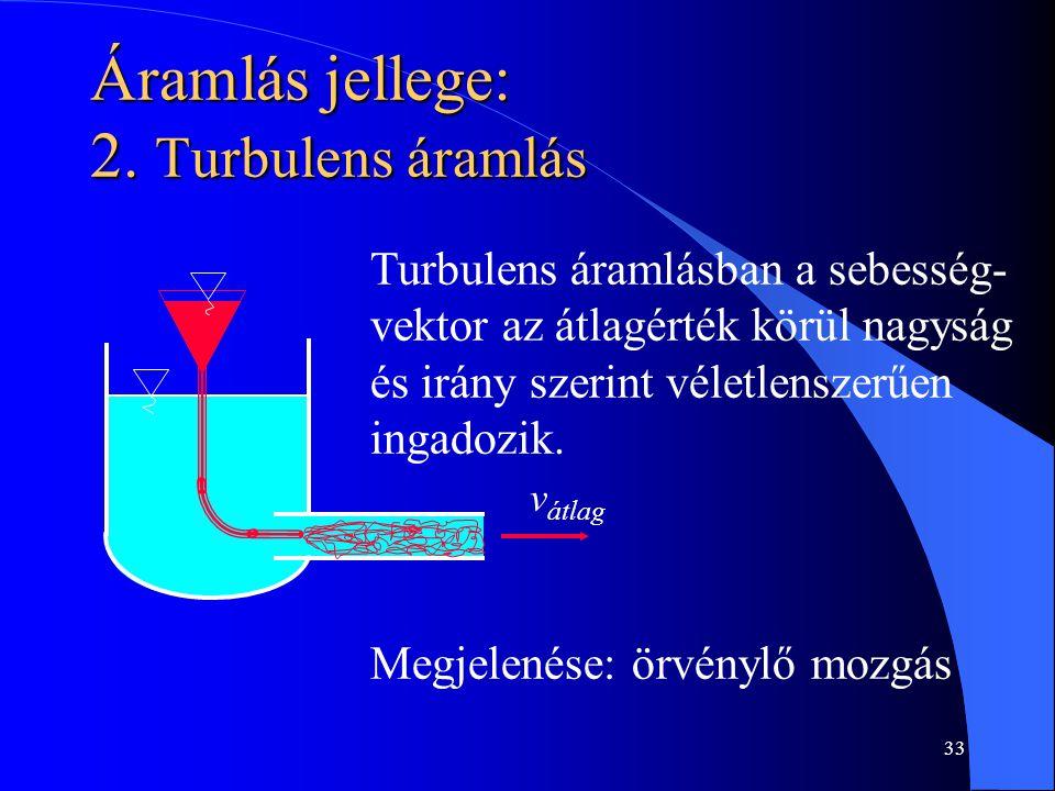 Áramlás jellege: 2. Turbulens áramlás