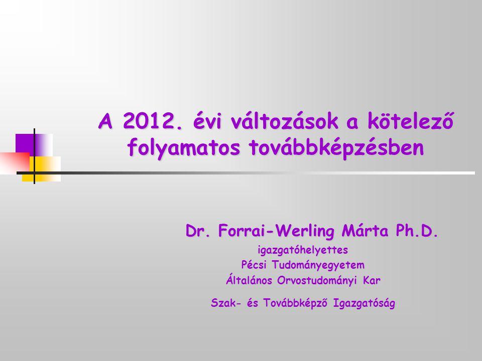 A 2012. évi változások a kötelező folyamatos továbbképzésben
