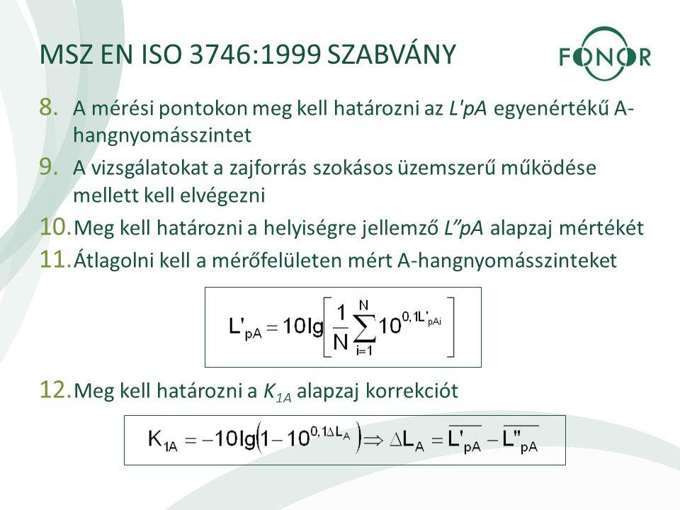 MSZ EN ISO 3746:1999 SZABVÁNY A mérési pontokon meg kell határozni az L pA egyenértékű A-hangnyomásszintet.