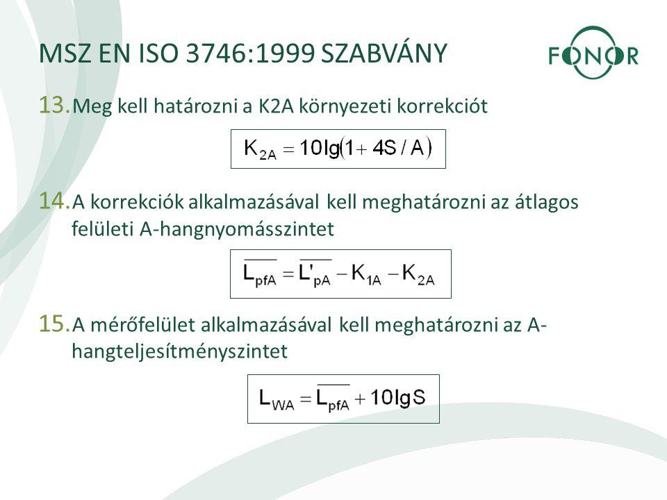 MSZ EN ISO 3746:1999 SZABVÁNY Meg kell határozni a K2A környezeti korrekciót.