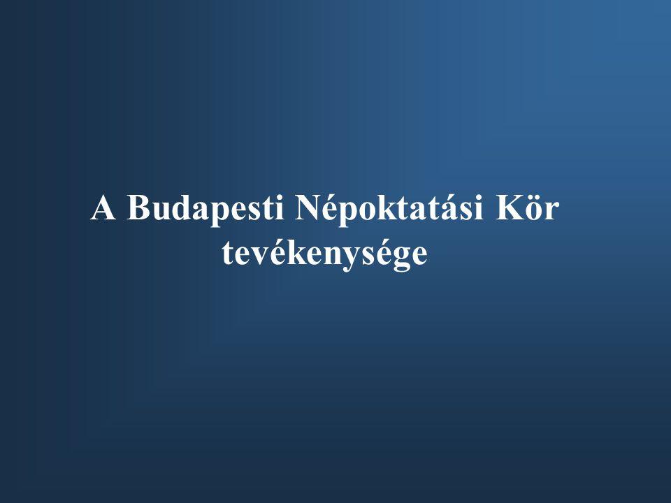 A Budapesti Népoktatási Kör tevékenysége