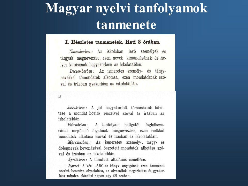 Magyar nyelvi tanfolyamok tanmenete