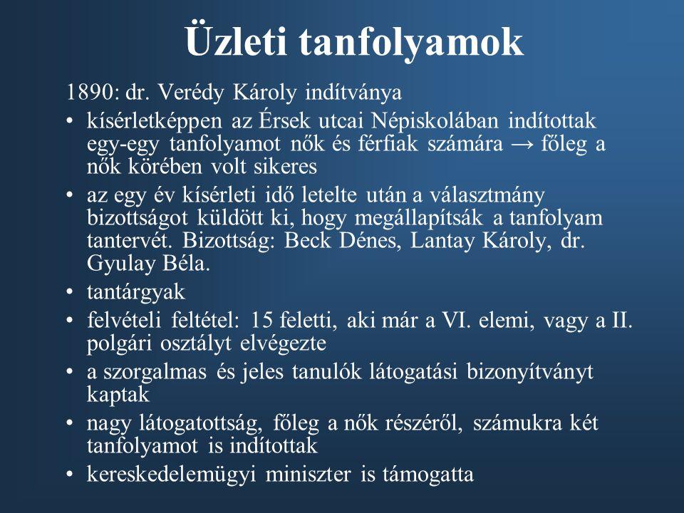 Üzleti tanfolyamok 1890: dr. Verédy Károly indítványa