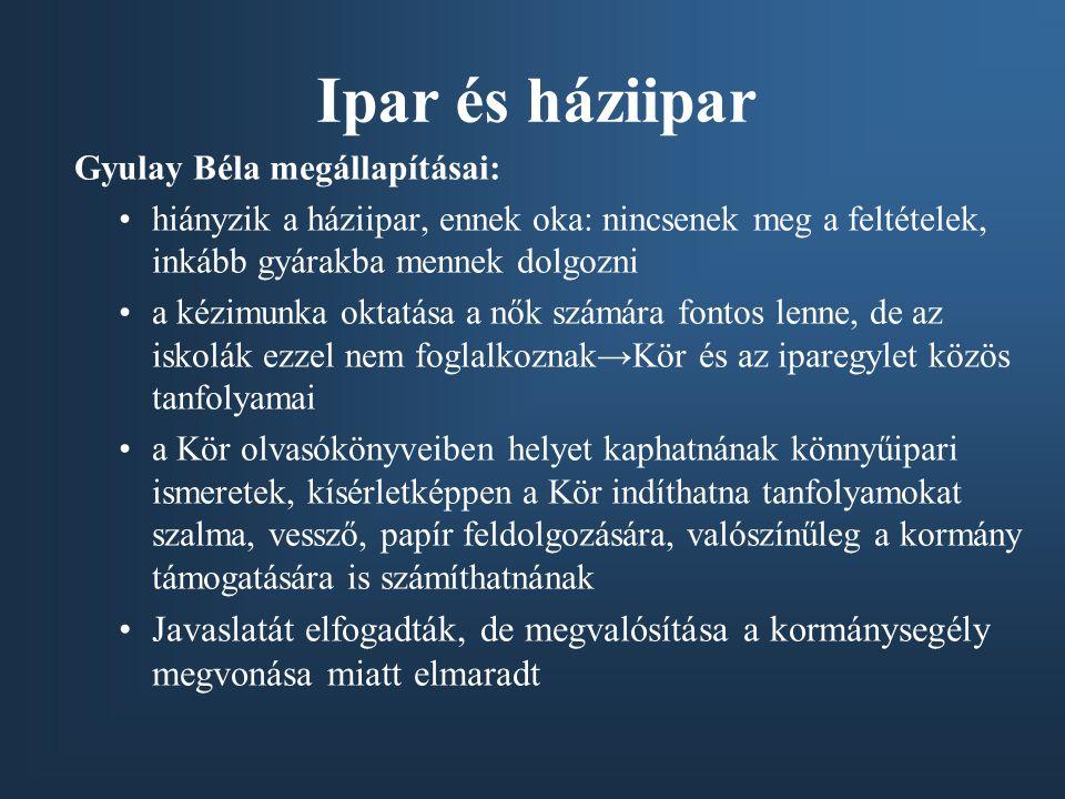 Ipar és háziipar Gyulay Béla megállapításai: hiányzik a háziipar, ennek oka: nincsenek meg a feltételek, inkább gyárakba mennek dolgozni.