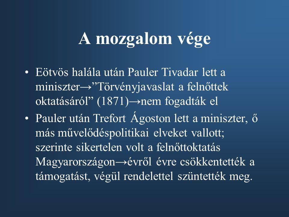 A mozgalom vége Eötvös halála után Pauler Tivadar lett a miniszter→ Törvényjavaslat a felnőttek oktatásáról (1871)→nem fogadták el.
