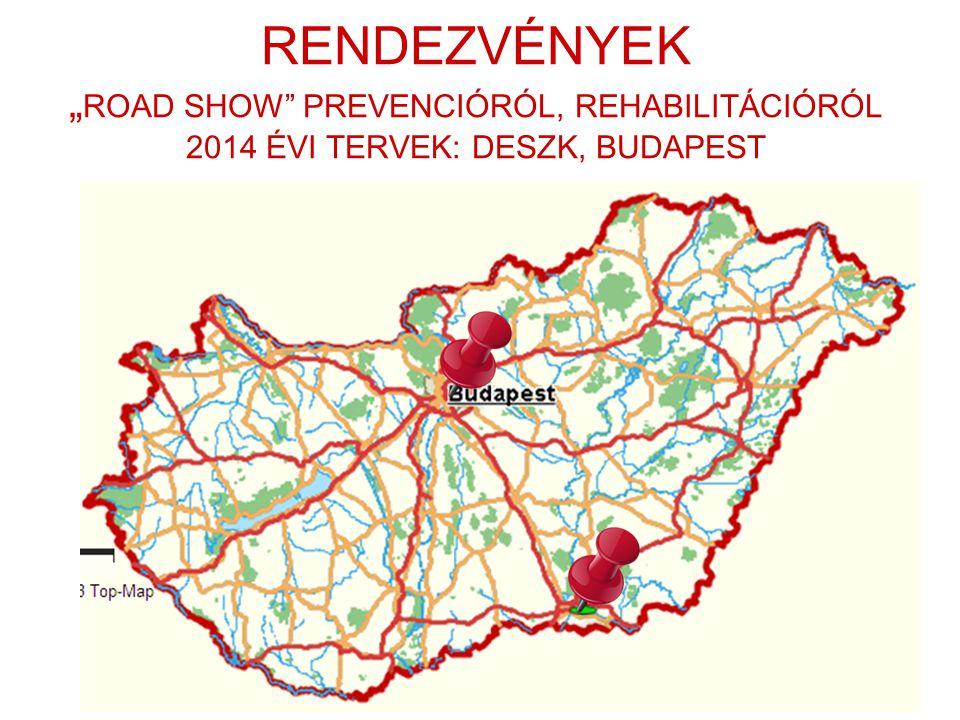 """RENDEZVÉNYEK """"ROAD SHOW PREVENCIÓRÓL, REHABILITÁCIÓRÓL 2014 ÉVI TERVEK: DESZK, BUDAPEST"""