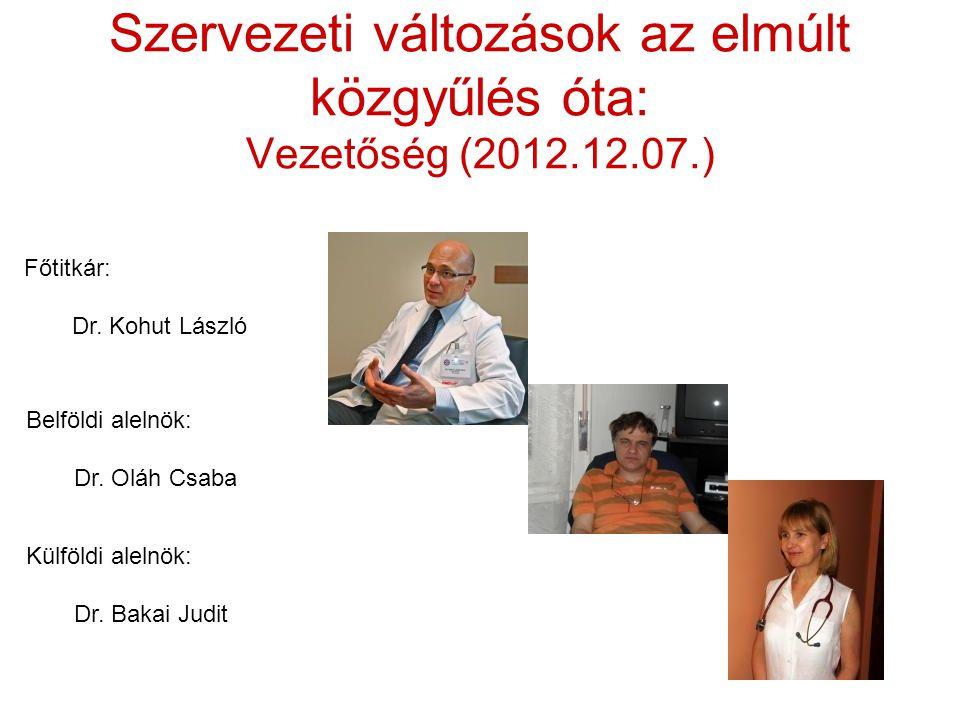 Szervezeti változások az elmúlt közgyűlés óta: Vezetőség (2012.12.07.)
