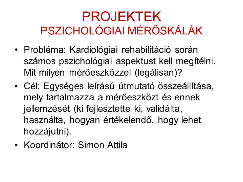 PROJEKTEK PSZICHOLÓGIAI MÉRŐSKÁLÁK