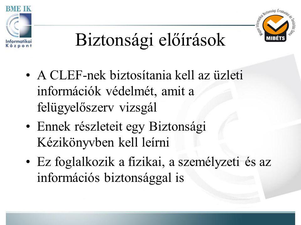 Biztonsági előírások A CLEF-nek biztosítania kell az üzleti információk védelmét, amit a felügyelőszerv vizsgál.