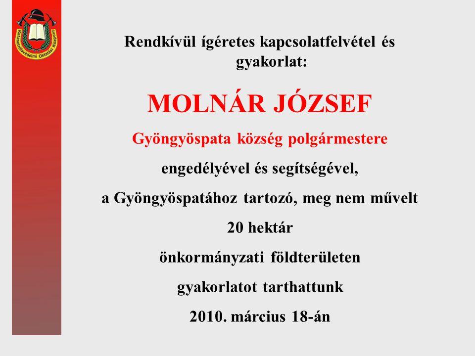 MOLNÁR JÓZSEF Rendkívül ígéretes kapcsolatfelvétel és gyakorlat: