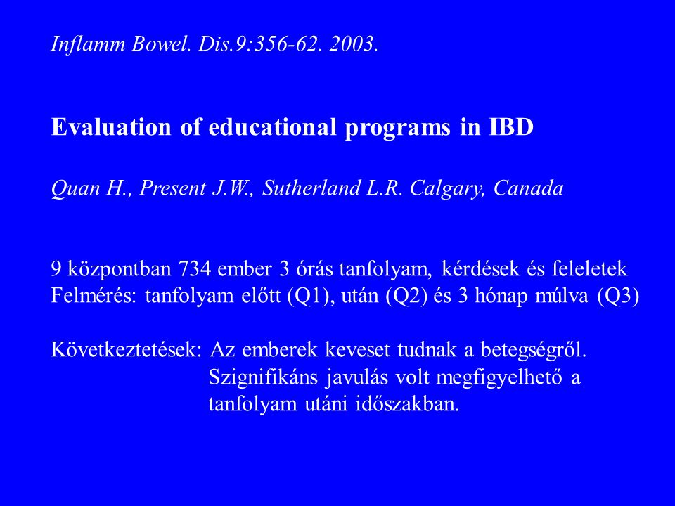 Evaluation of educational programs in IBD